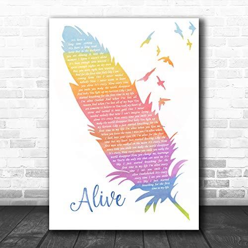 Alive aquarel veren & vogels lied lyrische citaat muziek poster print Large A3