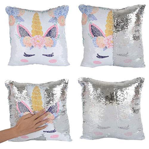 Mermaid Pillow, Unicorn Pillow Magic Reversible Sequin Pillow Cover Throw Cushion Case Decorative PillowcaseCushion Case Retro Farmhouse Decorative for Sofa 18 x 18 Inch (Unicorn-Silver Sequins)