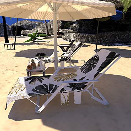 GZGZADMC Strandstuhl-Abdeckung, Pool-Sonnenbaden Lounge, Liegestuhl, Handtuch mit Seitentaschen, tragbar, schnell trocknende Sonnenliege, verdickte Decke für Urlaub, Urlaub