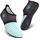 HEETA Barefoot Water Sports Shoes for Women Men Quick Dry Aqua Socks for Beach Pool Swim Yoga Dot_Blue M