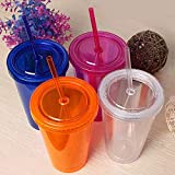ML Set di 2 bicchieri riutilizzabili con doppio isolamento per bevande fredde, infusi e frullati + spazzola per la pulizia della cannuccia, senza BPA, 500 ml, colore: blu/rosa