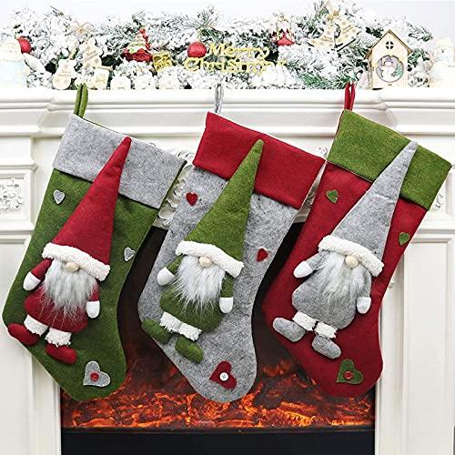 Kerst sokken open haard set, nicholas kous kous kous aan brandstof bruto kerst deco wichtel pluche kerstboom decoratie…