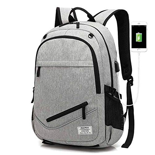 Mochila para ordenador portátil con puerto de carga USB, mochila de baloncesto para hombre, lona impermeable, gran mochila deportiva con red plegable de baloncesto