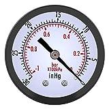 0-30inHg 0-1bar 50mm Mini Dial Manómetro de vacío de aire Manómetro Medidor...