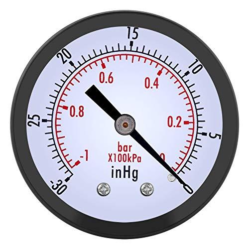 Yosoo Health Gear Manómetro de presión de vacío 0 ~ -30inHg 0 ~ -1bar 50 mm Mini dial Medidor de presión de Aire Manómetro con Rosca BSPT de 1/4'para medición de presión de Aire, Agua, Gas y Aceite