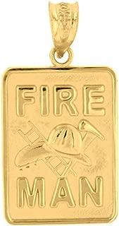 Solid 14k Yellow Gold Fireman Firefighter Emblem Charm Pendant