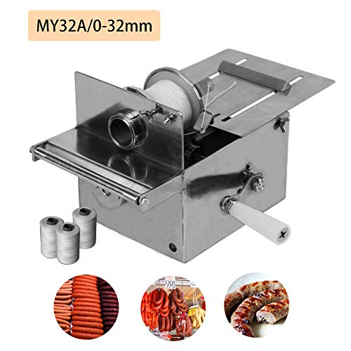 Sausage Linker Machine, Handle Sausage Tying Knotting Casing Ties Machine, FDA Stainless steel, with 3 Rolls Line (0-32mm)