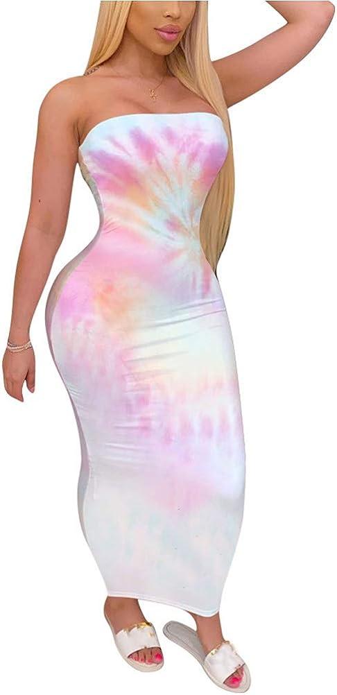 Women's Tie Dye Print Sleeveless Tube Top Sexy Strapless Bodycon Midi Club Dress