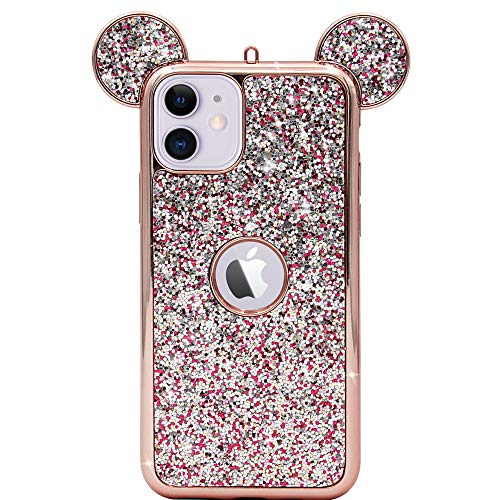 MC Fashion iPhone 11 Case, Cute 3D Sparkly Bling Glitter Mouse Ears Case for Teens Girls Women, Slim Fit Full-Body Protective Soft TPU Case for iPhone 11 6.1 inch 2019 (Rose Gold)