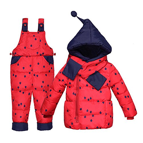 LPATTEN Kids Baby Toddler Winter Snowsuit Polka Dot Puffer Jacket Hoodie Coat Down Snowpants Bib Down Coat 2 Piece Clothing Outfit Set, Red, Age 2-3 Years/Tag100