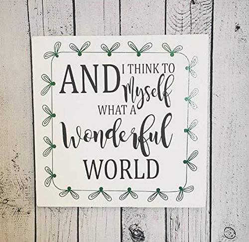 Eli231Abe Letrero de Madera Wonderful World Wonderful World de Madera con el...