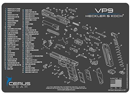 Cerus Gear H&K Vp9 Schematic Promat, Charcoal Gray/Cerus Blue