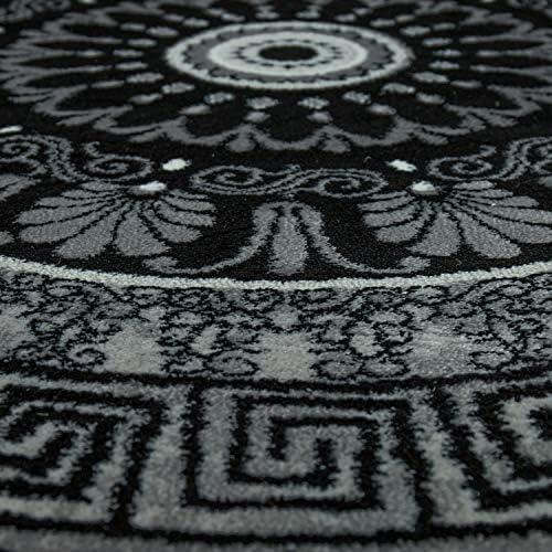 Alfombra Dise/ño Sal/ón Estampado Mandala Pelo Corto Estilo Barroco Gris Y Negro tama/ño:80x150 cm