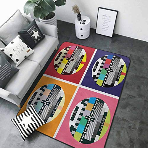 Bathroom Rug Kitchen Carpet Modern Decor,Television Radio Channel Signal Digital Sign in Four Collage Artwork Image,Multicolor 84 x 60 in Best Floor mats