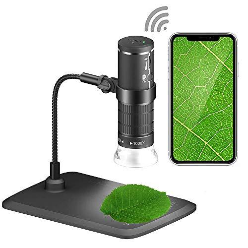 Cámara de Microscopio WiFi USB,Microscopía de Aumento USB Microscopio Digital WiFi 1080P 50X a 1000X Microscopio de Aumento USB 8 LED Mini Zoom Microscopio con Soporte para Teléfonos de PC