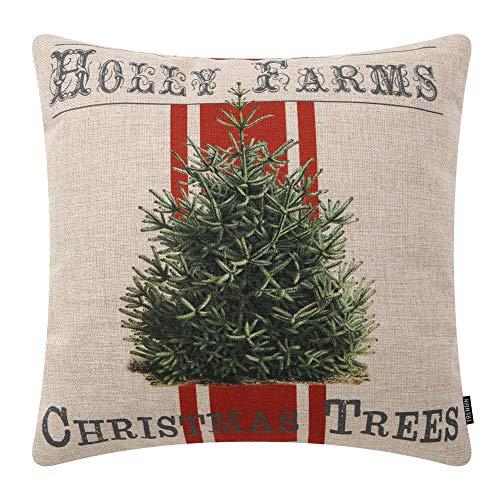TRENDIN Farmhouse Christmas Pillow Cover 20x20 inch Holly Farms Christmas Tree Throw Pillow Cover for Christmas Decor Cotton Linen PL404TR20