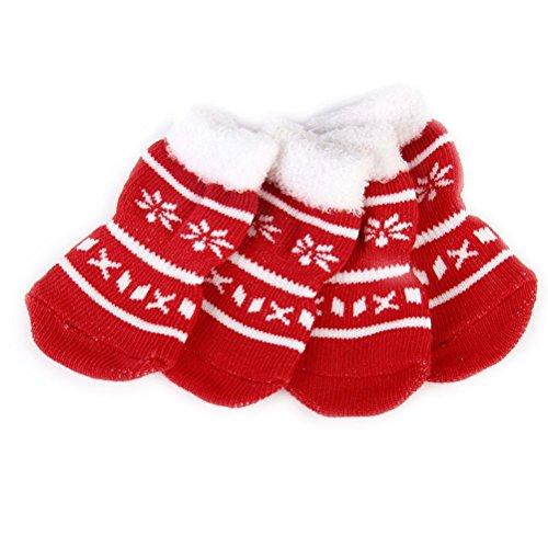 UEETEK Calze per Cani Calzini Cane Cucciolo con Antiscivolo per Natale Taglia M