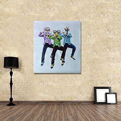 XIANRENGE Reine Handgemalte Ölgemälde,Frosch,Löwe Giraffe Tanzen Tier Abstrakte Malerei,Große Mauer Kunst Auf Leinwand Pop Bilder,Für Wohnzimmer Home Decor Rahmenlosen,70×70Cm