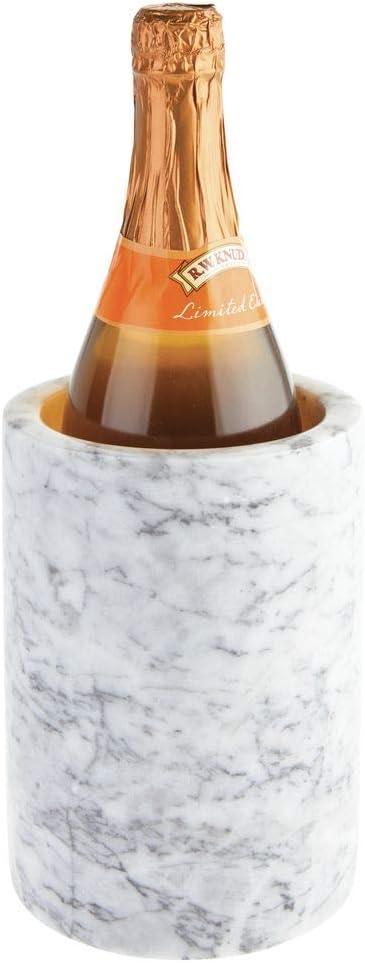 mDesign Natural Marble Stone Wine Bottle Cooler Chiller - Elegant Utensil Tool Holder Crock