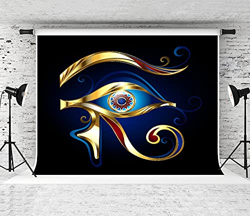 NANITHG Photography Background Amulet Eye of Horus of Glittering Gold, Decorated with Red and Blue Enamel On Dark Blue Party Decoration Banner Photo Booth Backdrop for Studio Props 10x7FT