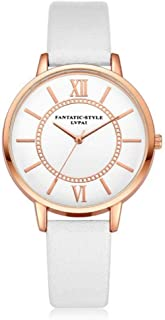 Female Analog Watch, Multi Colors Quartz Wrist Watch with PU Band and Round Dial for Girlfriend Gift
