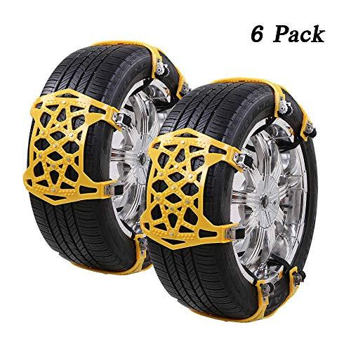 FCX-SNOWCH Schneeketten Auto-Reifenketten Universal 6 Stücke Anti-Rutsch-Ketten Einfach zu montieren Reifen Schneekette Geeignet für Jede Reifenbreite 175mm-265mm (Gelb)