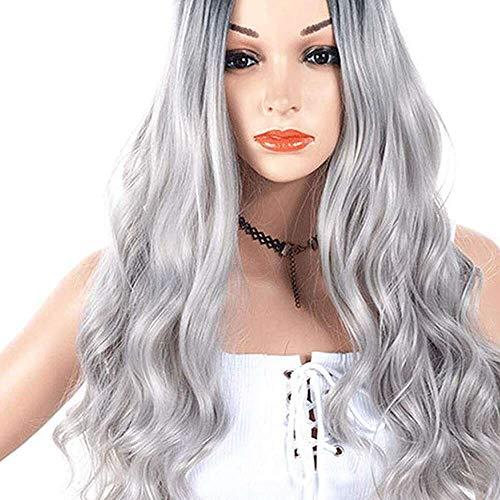 Yuyanshop Pelucas largas onduladas para mujer con flequillo Pelucas de pelo ondulado esponjosas para las mujeres Daily Cosplay Party Peluca (gris)