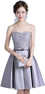 Shoulder Sequined Bridesmaid Evening Dress Women Formal Dress (Color : Gray, Size : XL)