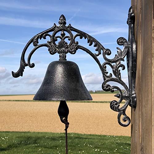 Chemin_de_campagne Große Türglocke, für den Garten, aus Gusseisen, Grau, 30 cm