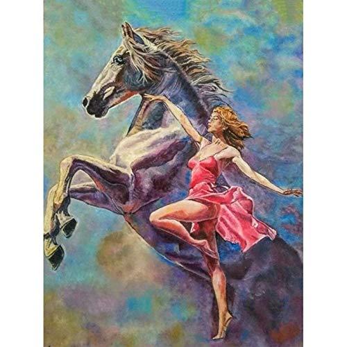 Pintura de diamante 5D, pintura redonda completa para mujer y caballo, mosaico de diamantes, imagen de diamantes de imitación, bordado de diamantes-30x40cm