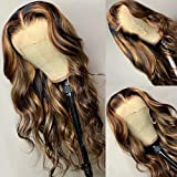 Oulaer Hair Body Wave HD Invisible Lace Front Human Hair Wigs 13x4 Ombre Highlight Color Pre Plucked Bleached Knots Brazilian Remy Hair 150 Density 24 Inch