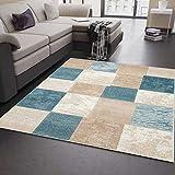 VIMODA Modern Edler Designer Teppich, Kariert und Meliert in Türkis Beige Creme, Sehr Dicht Gewebt - ÖKO TEX Zertifiziert, Maße:80 x 150 cm