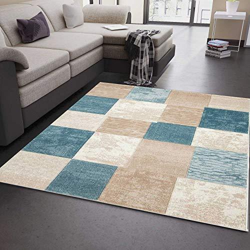 VIMODA Teppich Modern Klassik Kariert Meliert in Turkis Beige Creme, Maße:120 x 170 cm