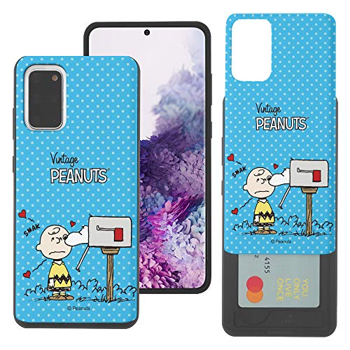 WiLLBee Galaxy S20 Case New PEANUTS Slim Slider Cover : kaart Dual Layer Holder Bumper voor [ Galaxy S20 (6.2inch) ] Case, Smack Charlie bruin brievenbus (Galaxy S20)