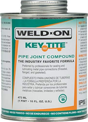 Weld-On 10064 505 Key Tite Metal Pipe Thread Sealant, Low-VOC, Green, 1 Pint (16 fl oz)