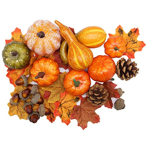 winemana Thanksgiving Artificial Pumpkins Home Decoration Set, Mixture of 50 Artificial Harvest Decoration, 30 Fake Maple Leaves + 10 Fake Acorns + 2 Fake Pinecones + 8 Fake Pumpkins