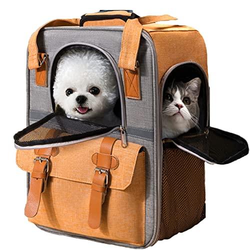 WYHmusic Mochila portadora de Perro de Gato en Naranja, Paquete Trasero del Portador de Mascotas con Tiras Reflectantes para pequeños Perritos de Gato Medio para Viajar