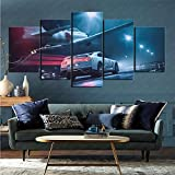Pintura impresión de imágenes 5 Piezas Set Coche Nissan GT-R Artista Vivo decoración del hogar 100x200cm (sin Marco)