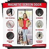 Magenetic Screen Door - Fits Doors up to 39.3'' x 83'' - Reinforced Full Frame Hook Fiberglass Mesh Door Screen with 32 Magnets (35.5'' x 83'')