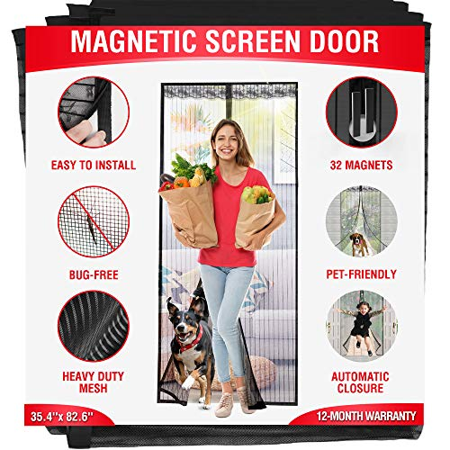Magenetic Screen Door - Fits Doors up to 39.3'' x 83'' - Reinforced Full Frame Hook Fiberglass Mesh Door Screen with 32 Magnets (35.5'' x 83'')