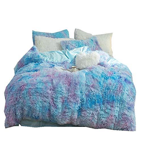 Tisi Quilt Bag Shaggy Plush Duvet Cover Flower Bedding Set Duvet Cover cloud Mink Velvet Coral Velvet 200 * 230 (Blue)