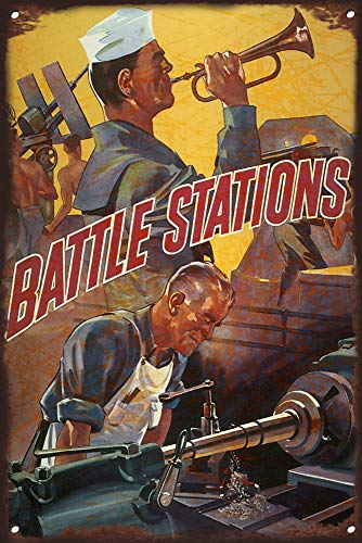 WWII American Propaganda Vintage Tin Sign - Battle Stations! Keep 'EM Fighting! - World War 2 Military Art Prints Replica - WWII Militaria Wall Art Decor for Home Metal Sign Wall Sign Wall Poster
