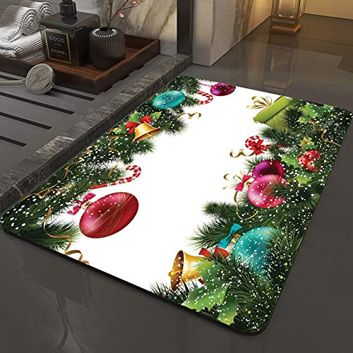 Memory Foam Bath Mat Non-Slip Back,Christmas,Happy New Year Greeting Decoration with Holly Garland Artful Desi,Microfiber Softness Bath Rug, Highly Absorbent, Machine Washable ,for Bathroom (50x80 cm)