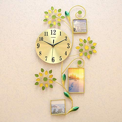 YVX Relojes Colgantes de Cuarzo silencioso de Estilo Simple, Relojes de Pared con Marco de Fotos para decoración de Dormitorio, Oficina en casa, Regalo (batería no incluida)