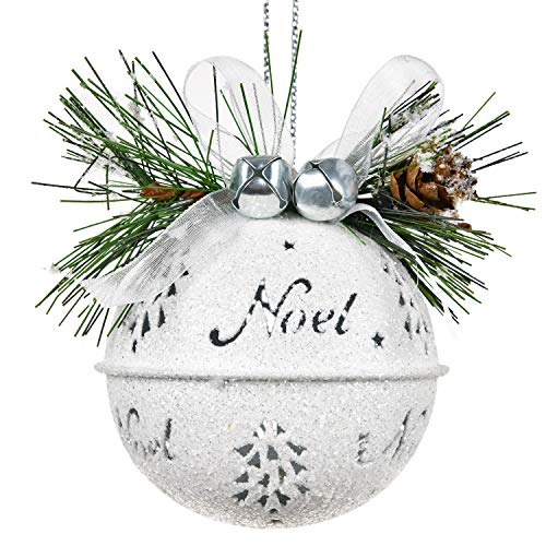 DearHouse 6 Pcs Big Christmas Jingle Bells, 3.4 Inch White Glitter Christmas Metal Sleigh Bells Rustic Craft Bells for Christmas Tree Wreath Garland Ornaments Holiday DIY Decorations