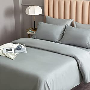 DERBELL Bed Sheet Set - Brushed Microfiber Bedding - Bedding Sheets & Pillowcases - Deep Pockets - Easy Fit - Breathable & Cooling Sheets - 4 Piece California King Light Gray