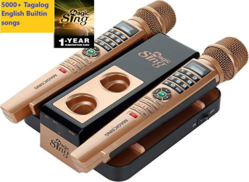 2020 Magic Sing E5+ 5145 Tagalog English songs + WIFI Karaoke Two Wireless Mics 12K English +1 Year Subscription for Tagalog Hindi Spanish Russian Vietnamese Japanese Korean songs & more