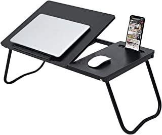 Folding Laptop Table Bed Tray Desk Stand with Phone Holder 6 Adjustable Incline Angle Foldable Legs Black Portable for Cou...