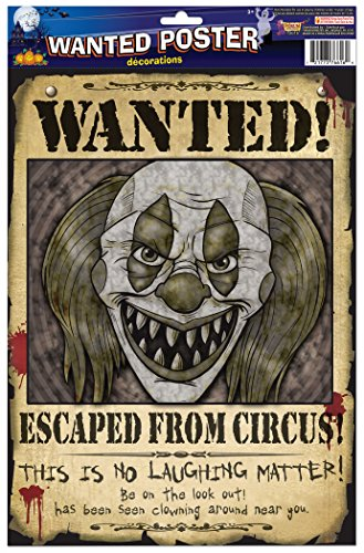 Forum Novelties 76616 Wanted Poster Clown, Off White