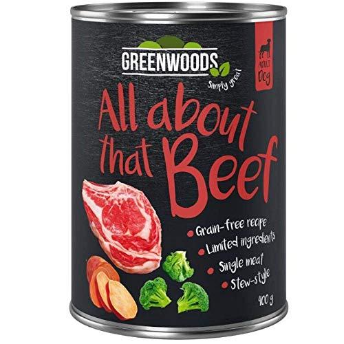 Greenwood All About That Beef, 12 x 800 g, Rindfleisch mit Süßkartoffeln und Brokkoli, Premium, natürliches, getreidefreies Nassfutter, für ausgewachsene Hunde